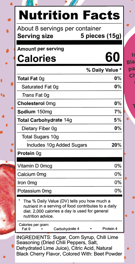 Nutrition Facts Cherry It's a Fire Tamalitoz